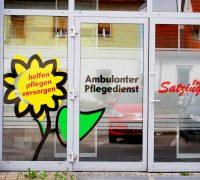 Schaufenster Beschriftung – Pflegedienst